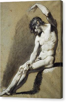 Seated Nude Canvas Print by Pierre Paul Prudhon