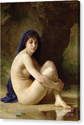 Female Canvas Print - Seated Nude by William Adolphe Bouguereau