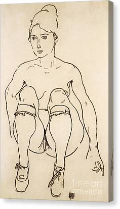Pencil On Canvas Print - Seated Nude With Shoes And Stockings by Egon Schiele