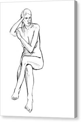 Seated Nude Woman Canvas Print by Adam Long