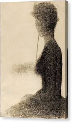 Seated Woman With A Parasol. Study For La Grande Jatte Canvas Print by Georges Seurat