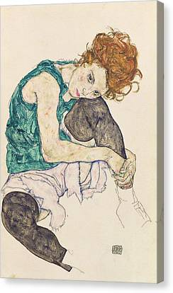 1918 Canvas Print - Seated Woman With Bent Knee by Egon Schiele