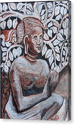 Canvas Print featuring the painting Seated Women In Javanse Manner by Anand Swaroop Manchiraju