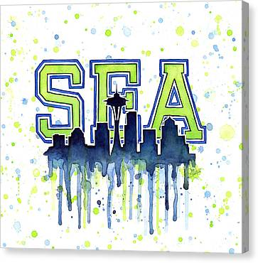 Seattle Watercolor 12th Man Art Painting Space Needle Go Seahawks Canvas Print by Olga Shvartsur