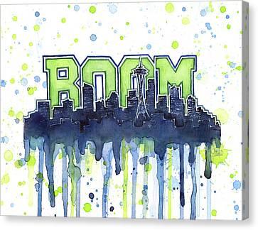 Drips Canvas Print - Seattle 12th Man Legion Of Boom Watercolor by Olga Shvartsur