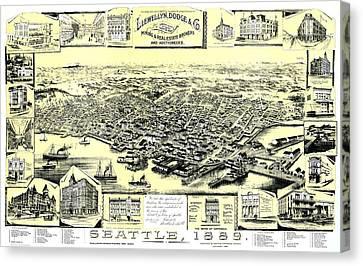 Seattle 1889 Canvas Print by Mountain Dreams