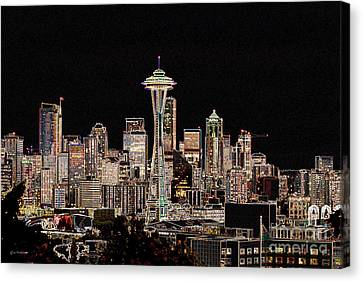 Seattle A Glow Canvas Print by Larry Keahey