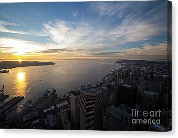 Seattle And Elliott Bay At Sunset Canvas Print