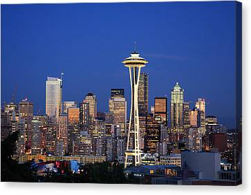 Late Canvas Print - Seattle At Dusk by Adam Romanowicz