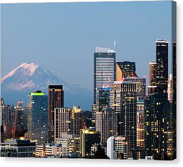 Seattle At First Light II Canvas Print by E Faithe Lester