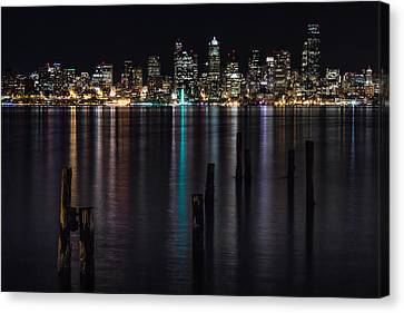 Seattle At Night Canvas Print by Ed Clark