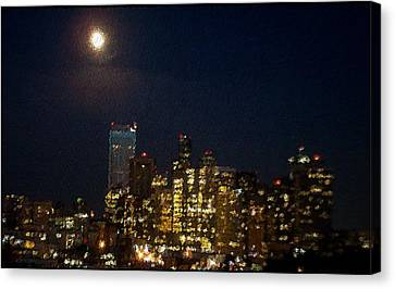 Seattle At Night Canvas Print by James Johnstone