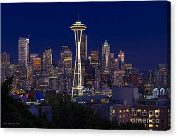 Seattle At Night Canvas Print by Larry Keahey