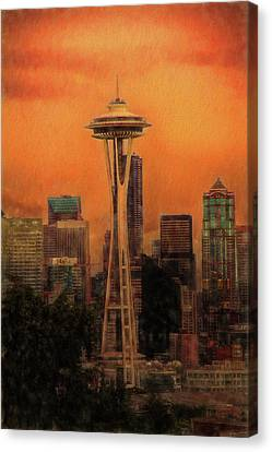 Seattle Skyline Canvas Print - Seattle At Sunset by Dan Sproul