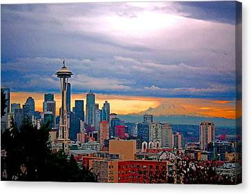 City Scape Canvas Print - Seattle At Sunset by Elaine Plesser