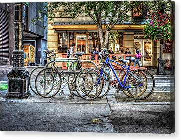 Canvas Print featuring the photograph Seattle Bicycles by Spencer McDonald
