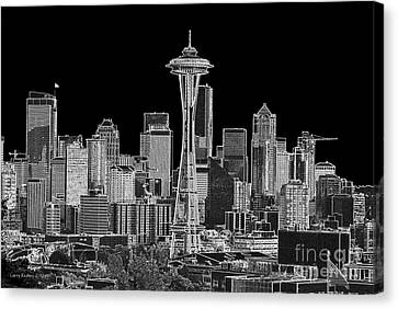 Seattle Black And White Canvas Print by Larry Keahey