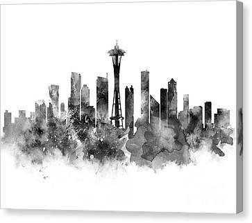 Seattle Skyline Canvas Print - Seattle Black And White by Monn Print