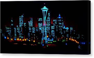 Seattle By Black Light Canvas Print