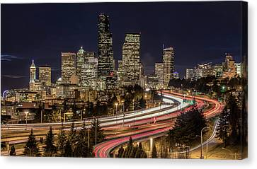 Seattle By Night Canvas Print