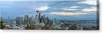 Canvas Print - Seattle City Skyline At Dusk Panorama by David Gn