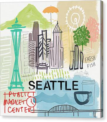 Seattle Cityscape- Art By Linda Woods Canvas Print by Linda Woods