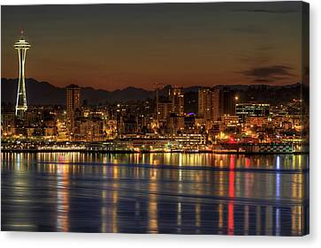 Seattle Downtown Skyline From Alki Beach Dawn Canvas Print by David Gn Photography
