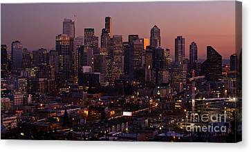 Seattle Dusk Canvas Print by Mike Reid