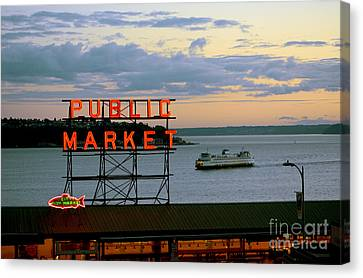 Seattle Ferry At Dusk Canvas Print by Ed Rooney