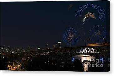 Seattle Fireworks Canvas Print by Mike Dawson
