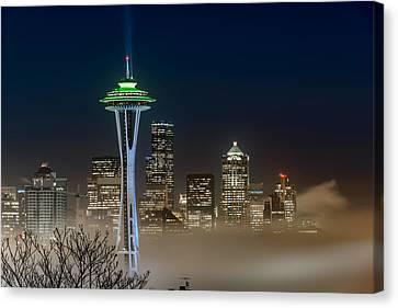 Seattle Foggy Night Lights Canvas Print