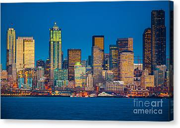 Pacific Northwest Ferry Canvas Print - Seattle From Alki Beach by Inge Johnsson