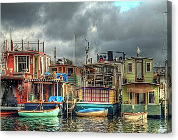 Seattle Houseboats Fine Art Photograph Canvas Print by Greg Sigrist