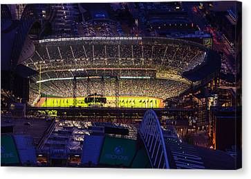 Seattle Mariners Safeco Field Night Game Canvas Print by Mike Reid