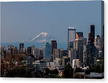 Seattle-mt. Rainier In The Morning Light .1 Canvas Print by E Faithe Lester
