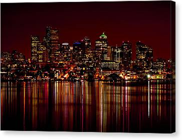 Seattle Nightscape Canvas Print by Rich Leighton