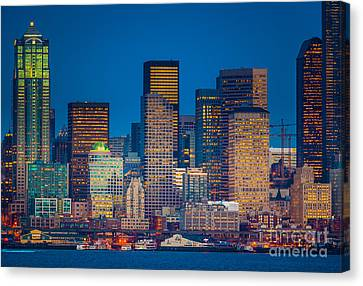 Pacific Northwest Ferry Canvas Print - Seattle Oceanfront by Inge Johnsson