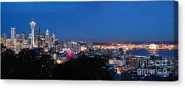 Seattle Panorama At Twilight Canvas Print