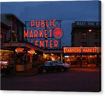 Seattle Public Market Canvas Print by Sonja Anderson