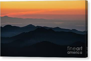 Seattle Puget Sound And The Olympics Sunset Layers Landscape Canvas Print by Mike Reid