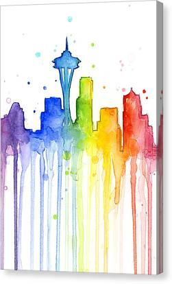 Seattle Skyline Canvas Print - Seattle Rainbow Watercolor by Olga Shvartsur