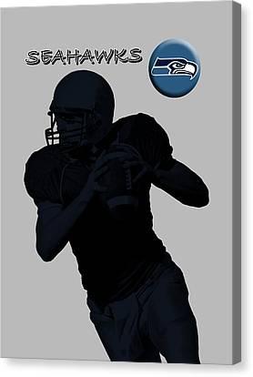 Canvas Print featuring the digital art Seattle Seahawks Football by David Dehner