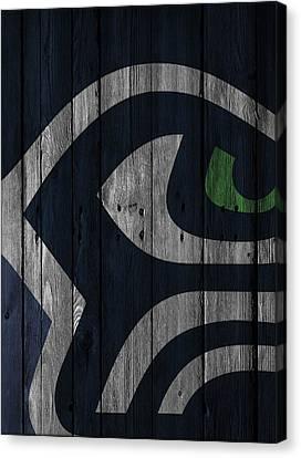 Seahawks Canvas Print - Seattle Seahawks Wood Fence by Joe Hamilton