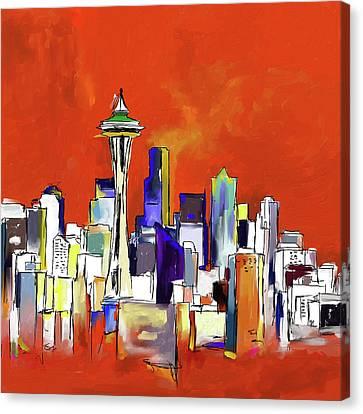 Seattle Skyline 565 1 Canvas Print by Mawra Tahreem