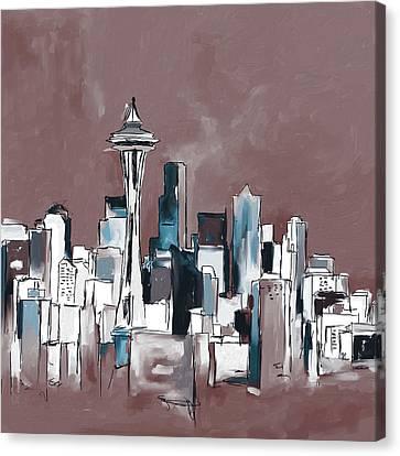 Seattle Skyline 565 2 Canvas Print by Mawra Tahreem