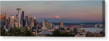 Canvas Print featuring the photograph Seattle Skyline And Mt. Rainier Panoramic Hd by Adam Romanowicz