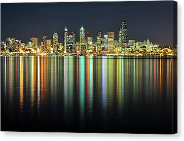 Multi Colored Canvas Print - Seattle Skyline At Night by Hai Huu Thanh Nguyen