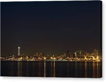 Seattle Skyline At Night Canvas Print by Stacey Lynn Payne