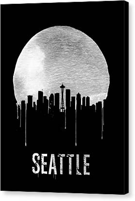 Seattle Skyline Canvas Print - Seattle Skyline Black by Naxart Studio