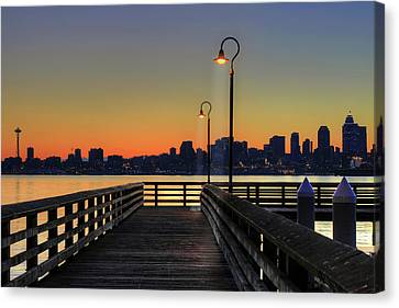 Seattle Skyline From The Alki Beach Seacrest Park Canvas Print by David Gn Photography